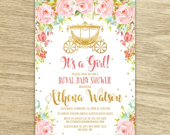 Sweet Floral It's a Girl Royal Baby Shower Invitation, Watercolor Pink Flowers With Carriage Baby Princess Baby Shower Printable Invitation