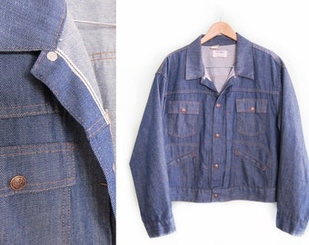 vintage denim jacket / baggy denim jacket / selvedge denim / 1960s oversize Big Yank denim jacket XL