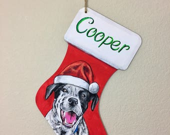 HAND PAINTED Wood Stocking