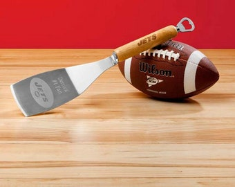 Personalized NFL Spatula with Bottle Opener, Football Grilling Spatula, Engraved NFL Spatula, Personalized NFL Logo Barbecue Spatula