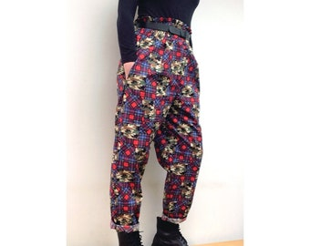 Brand new patchwork tartan camouflage check high waisted trousers
