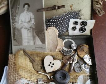 Vintage Treasures in a Rare Tin, Granny's Treasures in Mysterious Cigarette Box,Mixed Media,Art Supply,Nib,Scrapbooking,Embellishments