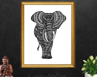 Elephant, Elephant Decor, Elephant Print, Elephant Wall Art, Coloring Page, Elephant Art, Animal Print, Elephant Painting, Elephant Artwork
