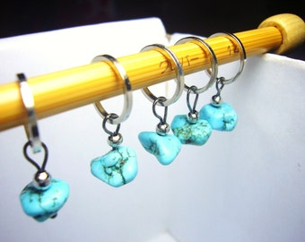 Blue Stone stitch markers knitting accessories snagless id1330639 knit stitchmarkers gift knitter tools snag free