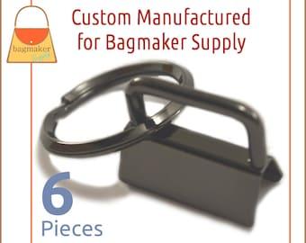 1 Inch Deluxe Key Fob Hardware, Shiny Gun Metal Finish, 6 Sets, One Inch, Gunmetal Purse Handbag Hardware Jewelry Supply, KRA-AA013