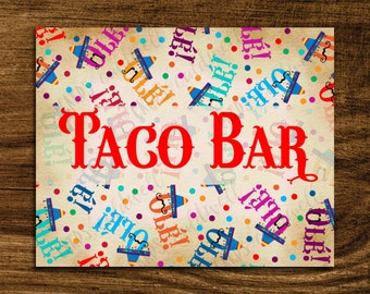 Taco Bar Sign | Fiesta Taco Sign | Instant Download | Fiesta Decor | cinco de mayo | birthday party decor