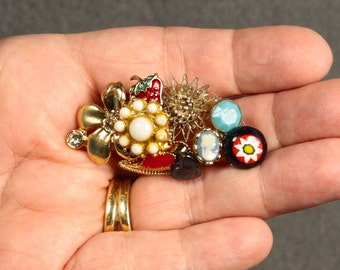 Lapel Pin, Eco Chic Jewelry, Brooch Colorful, Repurposed Brooch, Abstract Brooch, Wearable Art Brooch, Mixed Brooch, Assemblage Brooch
