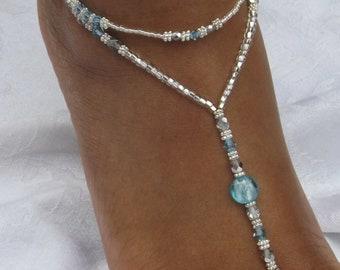 Swarovski Crystal Rhinestone Beach Wedding Sandal Foot Jewelry Wedding Barefoot Sandal Bridesmaid Gift Blue wedding ShoesJewelry