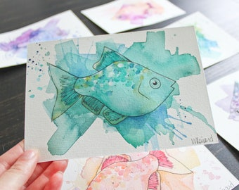 Turquoise and blue fish. Original watercolor on paper. Sea. Ocean. Water. Sailor. Swim. Illustration. Decoration. 5 x 7 inches.
