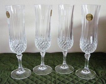4 Vintage CRIS D'ARQUES / DURAND Crystal Champagne Toasting Flutes Longchamp Pattern
