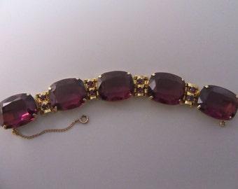 1980s Large Purple Stone Bracelet