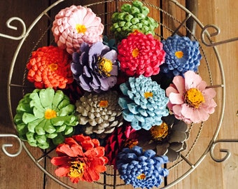 Pastel Zinnia Pinecone Flower Bowl Filler, Pine Cone Basket Fillers, Painted Pinecones, Spring Summer Pastel Colors, Pinecone Daisy Dahlias