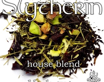 Slytherin House Blend - loose leaf black tea, pistachio, cherry, lemongrass, pudding, Harry Potter, Potterhead, nerd gift, book lover