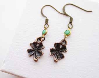 st patricks green four leaf clover earrings, four leaf clover earrings, clover earrings, st patricks day, shamrock earrings, dangle earrings
