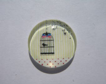 Cabochon 18 mm round domed cage image with pink and Blue Bird