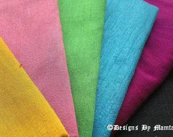 5 Art Silk Fabric Fat Quarter Set, Dupioni Silk, Doll Dress Silk, Silk Fat Quarter Set, Art Silk Fat Quarter, Fat Quarter Quilting Fabric,