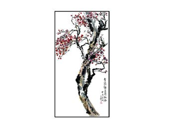 Watercolor Painting,Flower Tree Watercolor Painting, Flower Painting,Wall Decor,Wall Art, Giclee Paper Print,Vertical Painting,Free Shipping