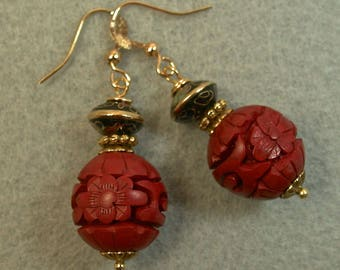 Vintage Chinese Cinnabar RED Dangle Drop Bead Earrings, Vintage Chinese Black Abacus Cloisonne Beads ,Gold French Ear Wires - GIFT WRAPPED