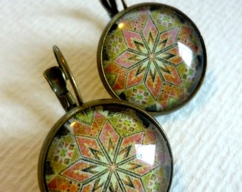 Metal cabochon glass 20mm egg earrings