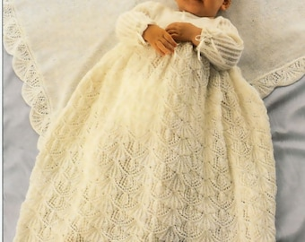 Vintage Pattern Baby Knitted Christening Dress and Shawl PDF Download