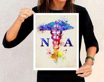 """Watercolor Nurse Assistant - Caduceus, 11"""" x 14"""" print, Medical print, Nurse graduation gift, Nurse Assistant certification gift, Nurse art"""