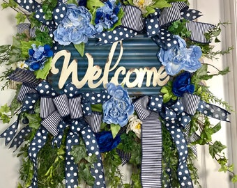 Blue and Cream Spring and Summer Mesh Door Wreath