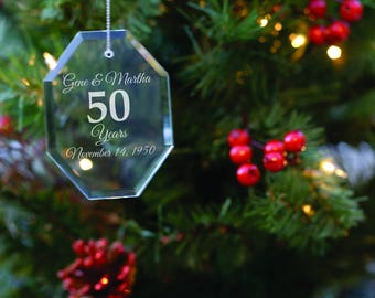 Wedding Anniversary Gift - Anniversary Ornament - Christmas Tree Decoration - Wife Gift - Xmas Present - Gift for Parents - Grandparent Gift