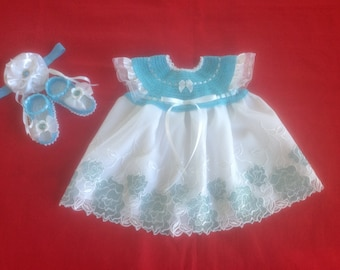 Baby Girl Dress Set - Aqua Blue & White