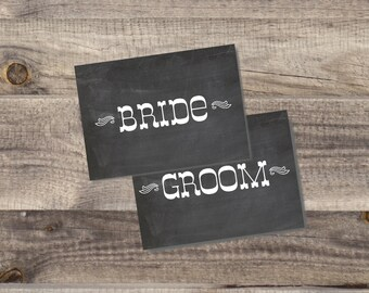 INSTANT Download - CHALKBOARD Bride and Groom Chair Signs - DIY, Wedding reception, Mr Mrs Chair Signs,