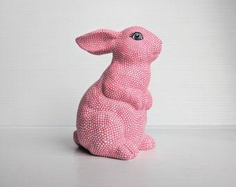 Bunny neon pink and white bunny Easter rabbit bunny figurine