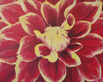 """Dahlia Oil Painting, Flower Painting, Dahlia, Flower, Close Up, Red & Yellow, Original Oil Painting - """"Red Dahlia Close Up"""" (30"""" x 40"""")"""