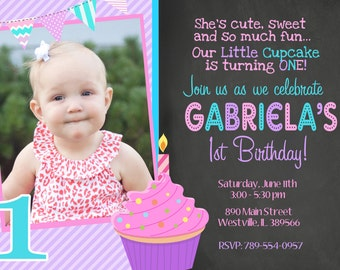 Cupcake Birthday Party, Cupcake Invitation, First Birthday, First Birthday Cupcake - Digital or Printed with Free Shipping