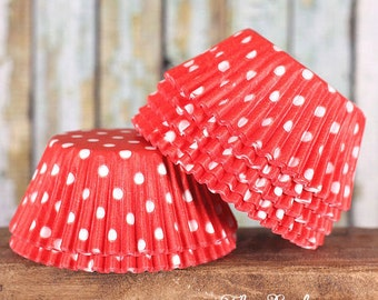 Red Polka Dot Cupcake Liners, Red Cupcake Liners, Red Baking Cups, Red Cupcake Wrappers, Red Muffin Papers, Red Cupcake Cases (50)