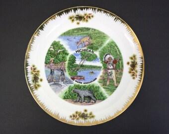 Vintage Artmark Michigan 'The Water Wonderland' Souvenir Plate (E6028)