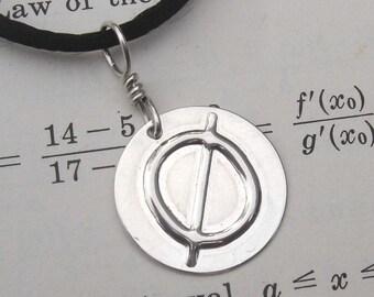 Null Geekery Nerdy Silver Pendant - Mathematics, Math Jewelry, Math Teacher Gift, Science Jewelry Geek, Mathematician, Math Necklace