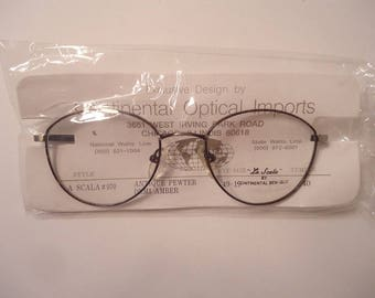 NOS La Scala 970 Antique Pewter Demi Amber Eyeglass Frames 49 19 140 Lot 64