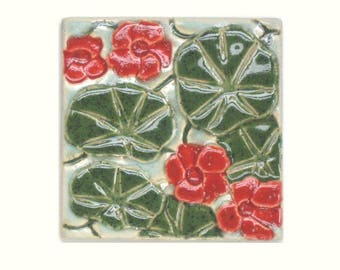 Nasturtium Arts and Crafts MUD Pi 4x4 Handmade Decorative Tile