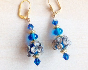 Beautiful earrings blue and gold lampwork beads and Swarovski Crystal