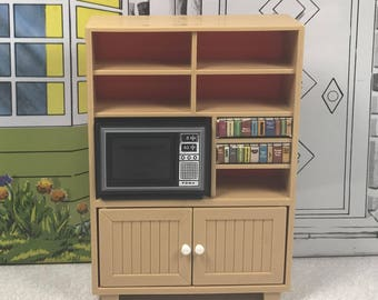 TOMY ENTERTAINMENT CENTER or Unit with Television, 1970's to 1980's, Lundby 1:18 Scale, Hard Plastic, Vintage Dollhouse Kitchen Furniture