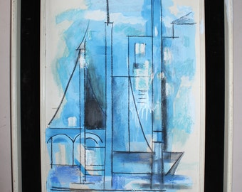 Lyonel Charles Feininger Original Vintage Abstract Expressionist Cubism Cubist Architectural Composition w Sailboat Gouache Pastel Painting