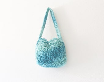 Turquoise handbag, knit turquoise purse, Small shoulder bag, Summer knit purse