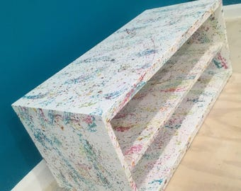 Upcycled Tv Stand. Paint splatter design