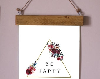 Be Happy Print WITH Magnetic Wood Frame, Magnetic Frame, Wood Frame, Cute Print, Print, Print Frame, Magnetic Wood Frame, Quote, Wall Art