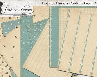 Vintage Paper Pack, Digital Papers, Shabby Paper Pack, Teal & Cream Paper Pack, Printable Paper Pack, Instant Download
