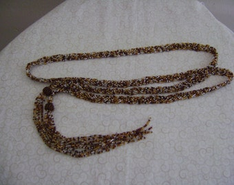 Vintage 70's Hippie Seed Bead Belt, Flapper Necklace