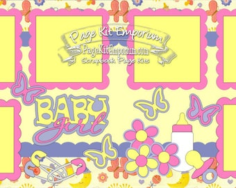 Scrapbook Page Kit Baby Girl 2 page Scrapbook Layout 041