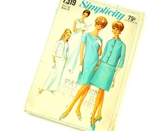 Vintage 1960s Womens Size 12 Princess Line Dress Two Lengths and Jacket Simplicity Sewing Pattern 7319 Complete / b32 w25 / Cocktail Evening