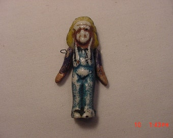 Antique Miniature Porcelain Frozen Charlotte Native American Indian Chief Doll  18 - 856
