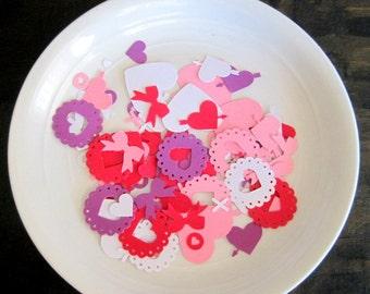 Confettis de la Saint-Valentin, décor de Table de la Saint-Valentin, Cofetti fête la Saint-Valentin, confettis coeur, confettis arcs, 100 confettis de la Saint-Valentin, fête de la Saint-Valentin