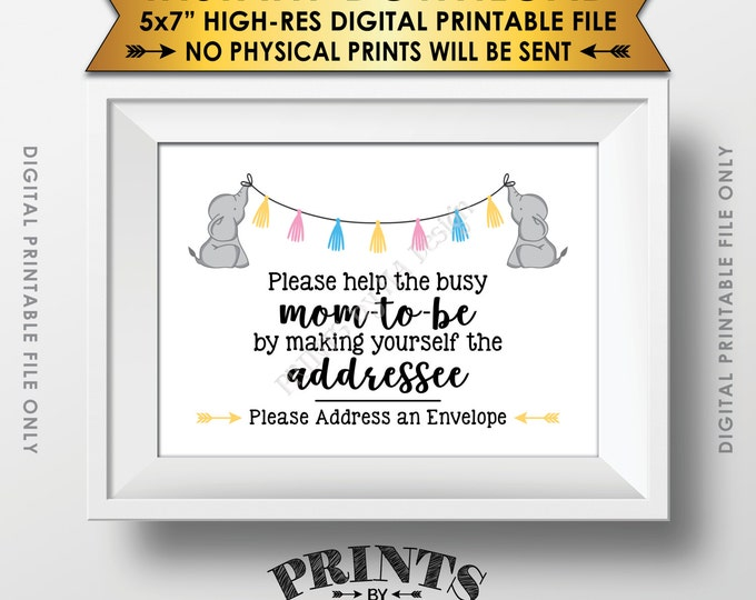 """Address an Envelope Sign, Elephant Baby Shower Help the Busy Mom-to-Be Sign, Neutral Baby Shower Decor, PRINTABLE 5x7"""" Baby Shower Sign <ID>"""